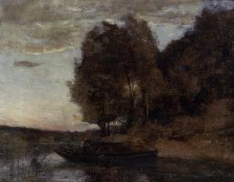 Camille Corot. Fisherman and forest landscape