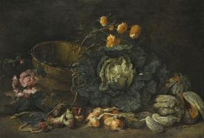 Ян Фит. Натюрморт с луком, инжиром, огурцом, капустой и цветами