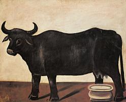 Нико Пиросмани (Пиросманашвили). Черная буйволица на белом фоне. Часть диптиха