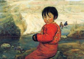 Цзян Хуэй. Маленькая девочка, сидя у реки