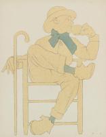 Максфилд Пэрриш. Сидящий мужчина с чашкой чая