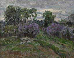 Boris Petrovich Zakharov. Lilac, evening. Etude.