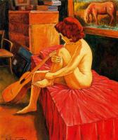 Эмилио Бонет Казанова. Сидящая на кровати девушка