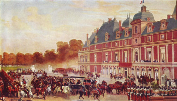 Eugene-Louis Lamy. The arrival of Queen Victoria at the castle e