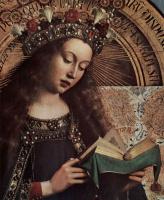Хуберт ван Эйк. Гентский алтарь, алтарь мистического агнца, центральная часть, сцена: Мария на троне, деталь