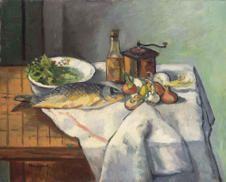 Henri Manguin. Carp, onions and coffee grinder. Still life on the kitchen table