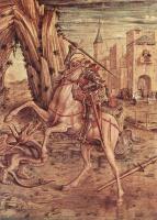 Карло Кривелли. Святой Георгий и дракон. Алтарь семьи Одони, правая створка в основании алтаря