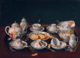Jean-Etienne Lyotard. Still life with tea set