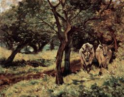 Джованни Фаттори. Два быка в оливковой роще