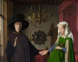 Jan van Eyck. Portrait of Arnolfini couple (fragment)