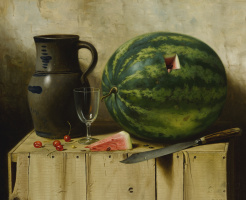Albert King. Still life with watermelon, jug and knife