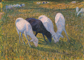 Giovanni Giacometti. Four sheep in a meadow