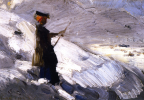 Franz Mark. Woman on the background of the winter landscape