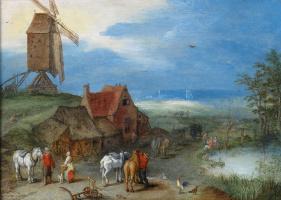 Ян Брейгель Старший. Пейзаж с ветряной мельницей, людьми и лошадьми на подворье