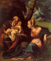Sofonisba Angisola. Holy family: rest on the way to egypt