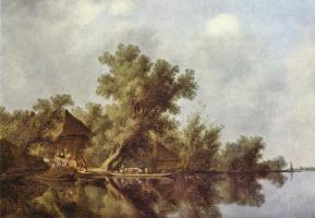 Саломон Якобс ван Рейсдал. Речной пейзаж с паромом