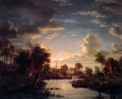 Джакобус Теодорус Абелс. Пейзаж в лунном свете