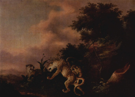 Венцель Игнац Праш. Леопарды, нападающие на кабана