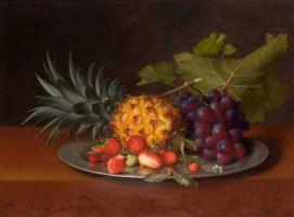 Отто Дидрик Оттесен. Натюрморт с ананасом, земляникой и виноградом
