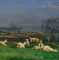 Форд Мэдокс Браун. Милые овечки. Фрагмент. Пасущиеся овцы в пейзаже