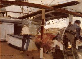 Хоакин Соролья (Соройя). Двое мужчин на палубе