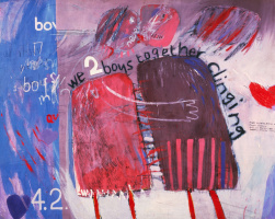 David Hockney. Two boys get into it (We Two Boys Together Clinging)