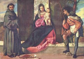 Джорджоне. Мадонна со свв. Антонием Падуанским и Рохом