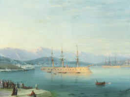Ivan Aivazovsky. French ships departing the Black sea