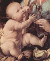 Леонардо да Винчи. Мадонна с гвоздикой, деталь: младенец Христос и гвоздика