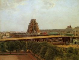 Александр Гаврилович Денисов. Подъем Александровской колонны