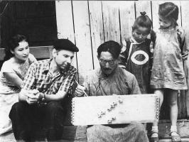 Надежда Николаевна Рушева. Н.Рушев и Надя на съемках док. фильма. Тува. 1959