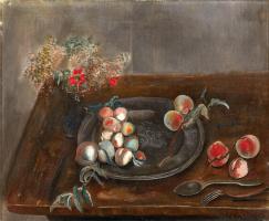 Борис Дмитриевич Григорьев. Натюрморт с фруктами и цветами на столе