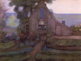 Пит Мондриан. Треугольный фасад дома с польдером в голубых тонах