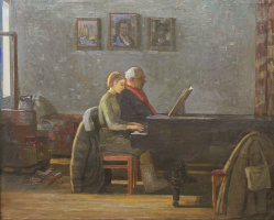 Евгений Александрович Казанцев. Music lesson.1941