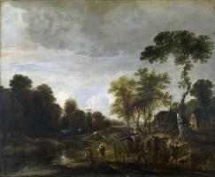 Арт ван дер Нер. Вечерний пейзаж с лошадью и телегой