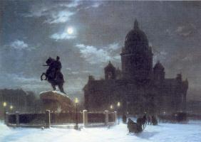 Вид Исаакиевского собора при лунном освещении