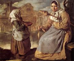 Джакомо Черути. Маленькая девочка и нищая с прялкой