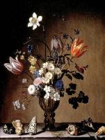 Балтазар ван дер Аст. Натюрморт с цветами в вазе и ракушками на столе