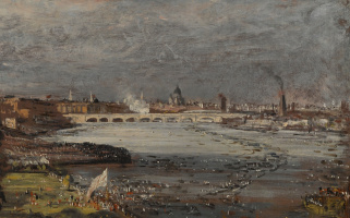 The opening of Waterloo bridge, the view from the steps of white hall, a fragment of