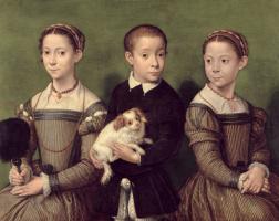 Софонисба Ангвиссола. Трое детей с собакой