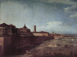 Giovanni Antonio Canal (Canaletto). The views of the Royal Palace in Turin on the West side