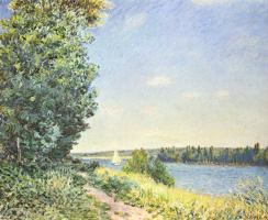 Alfred Sisley. The path on the shore in the evening near Sayura in Normandy