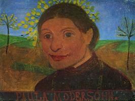 Паула Модерзон-Беккер. Автопортрет на фоне цветущих деревьев