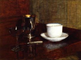 Анри Фантен-Латур. Чашка, серебряный кубок и  бокал шампанского