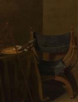 Питер Клас. Ванитас. Натюрморт с мальчиком, вытаскивающим занозу. Фрагмент 4. Кресло у стола