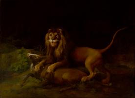 Джордж Стаббс. Лев, нападающий на оленя