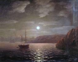 Ivan Aivazovsky. Lunar night on the Black sea