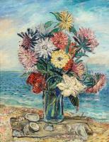 Давид Давидович Бурлюк. Натюрморт с цветами на пляже