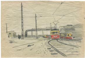 Alexandrovich Rudolf Pavlov. Sketch at the tram stop. Chelyabinsk. 1962