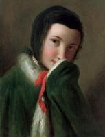 Пьетро Ротари. Портрет женщины с черным кружевным шарфом, зеленым пальто с белым мехом